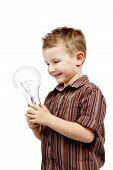 amused boy with lightbulb.