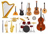 Musical Instruments Vector Music Concert With Acoustic Guitar Balalaika And Musicians Violin Harp Il poster