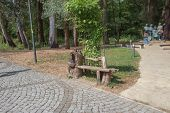 Landscape View Of Relaxing Place  In The Park. Park Benches In The City Park. The View Of Park poster