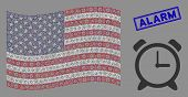 Alarm Clock Pictograms Are Combined Into Usa Flag Abstraction With Blue Rectangle Rubber Stamp Seal  poster