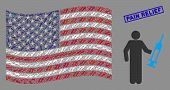 Medic Items Are Grouped Into American Flag Abstraction With Blue Rectangle Grunge Stamp Seal Of Pain poster