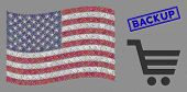 Shopping Cart Items Are Organized Into American Flag Collage With Blue Rectangle Grunge Stamp Seal O poster