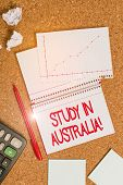 Handwriting Text Writing Study In Australia. Concept Meaning Going Into Foreign Country Order Comple poster