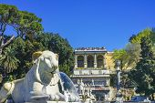 Lion Fountain Goddess Rome Statues Piazza Popolo Rome Italy poster