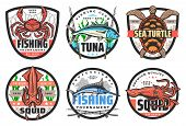 Fishing Club, Big Fish And Catch Tournament Icons Or Labels. Vector Fisher Equipment Tackles, Rods A poster