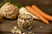 Dry, Dried Root Vegetable - Small Pieces Of Dried Vegetables In Jar poster