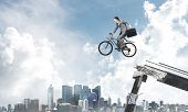 Man On Bike Jumping From Broken Bridge. Businessman On Bike Hurry To Work. Corporate Employee In Bus poster