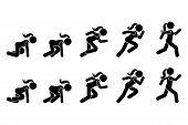 Stick Figure Runner Sprinter Sequence Icon Vector Pictogram. Low Start Speeding Woman Sign Symbol Po poster