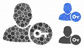 User Login Mosaic Of Round Dots In Variable Sizes And Color Hues, Based On User Login Icon. Vector R poster