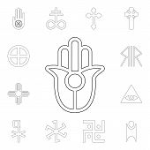 Religion Symbol, Semitic, Neopaganism Outline Icon. Element Of Religion Symbol Illustration. Signs A poster