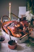 Roasted Festive Thanksgiving Day Turkey On Festive Table Setting. Family Celebration. Thanksgiving D poster