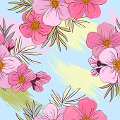 Tropical Flowers And Leaves Floral Textile Seamless Pattern. Summer Print With Flowers And Exotic Pl poster