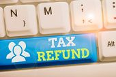 Conceptual Hand Writing Showing Tax Refund. Business Photo Text Refund On Tax When The Tax Liability poster