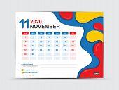Calendar 2020 Template, November, Desk Calendar 2020 Template, Fluid Colorful Background, Advertisem poster