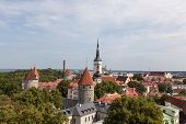 Medieval Town Rooftop View. Tallinn Churches And Towers Steeples. Beautiful Aerial View Of European poster