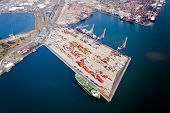 stock photo of container ship  - aerial view of durban harbour - JPG