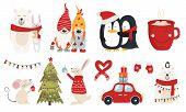 Set Of Christmas Characters Hugs poster
