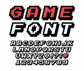 Pixel Font Vector Letters Set. Game Design. Font Of Old Games. 8 Bit Letters And Numbers Vector Alph poster