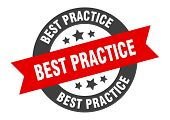 Best Practice Sign. Best Practice Black-red Round Ribbon Sticker poster