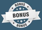 Bonus Ribbon. Bonus Round White Sign On White Background poster