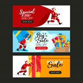 Christmas Or New Year Poster Set With Santa Claus, Large Sack And Gift Boxes. Vector Flat Cartoon Il poster