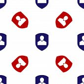 Blue And Red User Protection Icon Isolated Seamless Pattern On White Background. Secure User Login,  poster