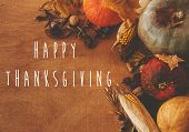 Happy Thanksgiving Text Sign, Season Greeting Card. Pumpkins, Autumn Leaves, Corn, Nuts ,chestnuts,  poster