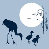 crane with nestling silhouette on solar background, vector illustration