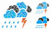 Storm Composition Of Uneven Elements In Various Sizes And Color Tones, Based On Storm Icon. Vector U poster