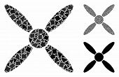 Aircraft Propeller Mosaic Of Rugged Elements In Different Sizes And Shades, Based On Aircraft Propel poster