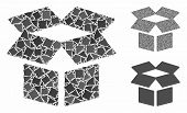 Open Box Mosaic Of Trembly Parts In Various Sizes And Color Tinges, Based On Open Box Icon. Vector I poster