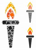 Fire Torch Mosaic Of Ragged Items In Variable Sizes And Color Hues, Based On Fire Torch Icon. Vector poster