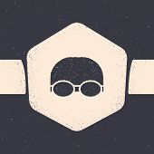 Grunge Glasses And Cap For Swimming Icon Isolated On Grey Background. Swimming Cap And Goggles. Divi poster