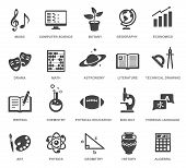 School Subjects Black Glyph Icons Vector Set poster
