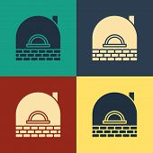 Color Brick Stove Icon Isolated On Color Background. Brick Fireplace, Masonry Stove, Stone Oven Icon poster