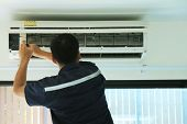 The Repairman Is Disassembling The Air Conditioner For Cleaning.the Air Conditioning Technician Is R poster