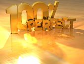 Постер, плакат: 3D 100 процентов идеальный золотой текст