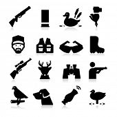 stock photo of hunt-shotgun  - Hunting Icons - JPG