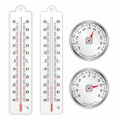 Set Of Thermometers And Barometer In Vector