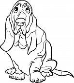 Basset Hound perro de dibujos animados para colorear libro