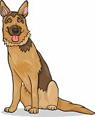stock photo of alsatian  - Cartoon Illustration of Funny German Shepherd Purebred Dog - JPG