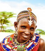 AFRICA,KENYA, SAMBURU,NOVEMBER 8: Portrait of Samburu  woman wearing traditional handmade accessorie