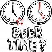 Final de tempo de cerveja de esboço de negócios