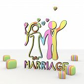 Isolated funny comic style marriage 3d icon