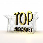 Isolated metallic locked top secret 3d icon