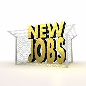 Isolated metallic locked new jobs 3d sign