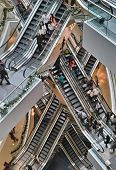 Escalators Inside Shopping Mall