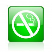 picture of marijuana cigarette  - no smoking green square web icon on white background - JPG