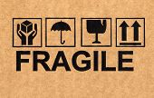 Fragile Symbol On Cardboard