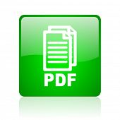 pdf green square web icon on white background
